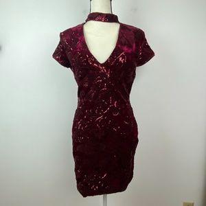 Akira Burgundy Velvet and Sequin Dress